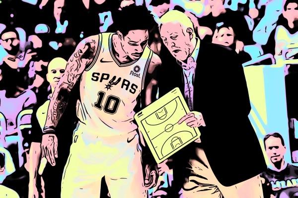 Arte do Cultura Pop sobre foto de DeMar DeRozan e Gregg Popovich (Fernando Medina/NBAE via Getty Images)